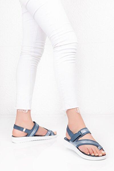 Kadın Mavi Hakiki Deri  Comfort Sandalet