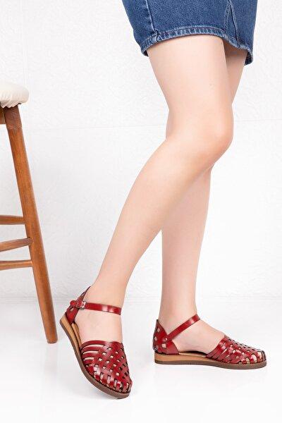 Kadın Kırmızı Hakiki Deri  Sandalet
