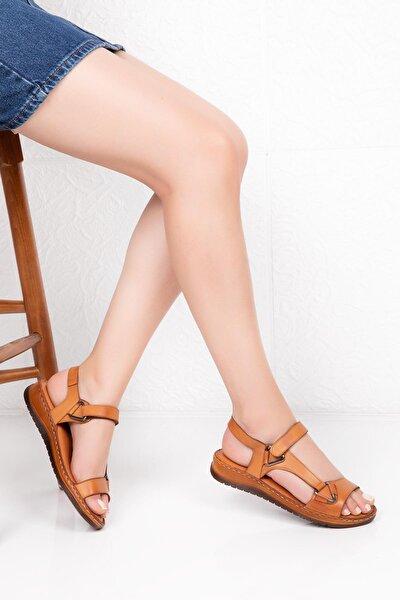 Kadın Kahverengi Hakiki Deri  Comfort Sandalet