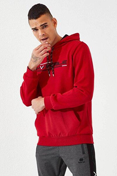 Erkek Kırmızı Kanguru Cepli Sweatshirt