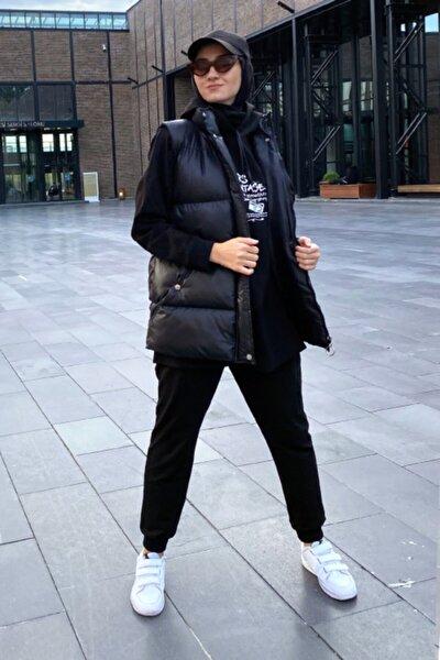 Kadın Siyah Fermuarlı Şişme Yelek