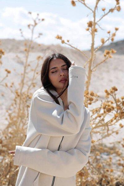 Kadın Bej Kapüşonlu Fermuarlı Oversize Sweatshirt