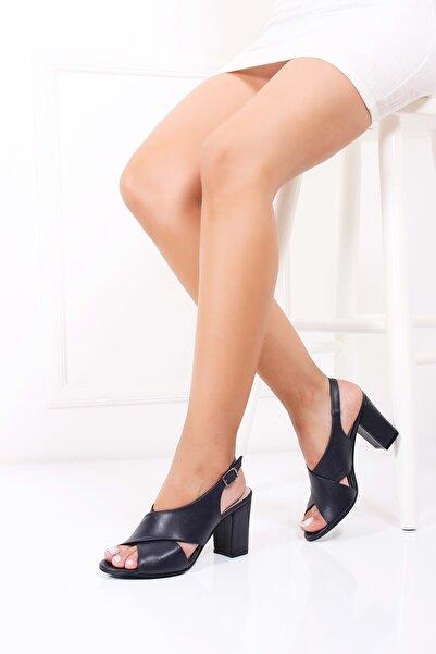 Kadın Lacivert Hakiki Deri Topuklu Ayakkabı 37 Şhn.0100-2