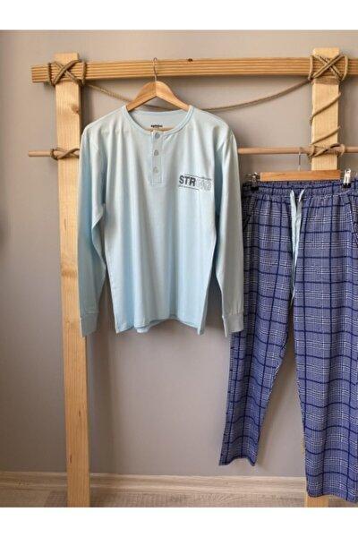 Erkek Açık Mavi Uzun Kol Ekose 3 Düğme Cepli Pijama Takımı 3975