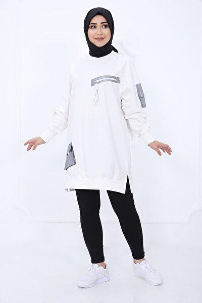 30479 Önden Fermuar Detaylı Kolu Cepli Bayan Sweat Tunik- Beyaz