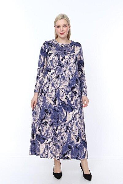 Kadın Mor Viskon Kumaş Baskı Desen Büyük Beden Elbise