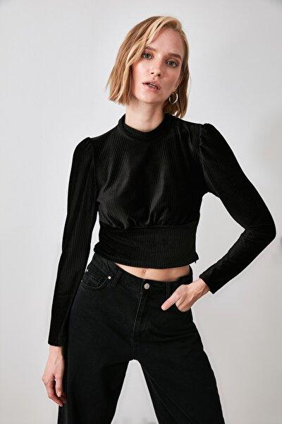 Siyah Sırt Detaylı Örme Bluz TWOAW21BZ0678