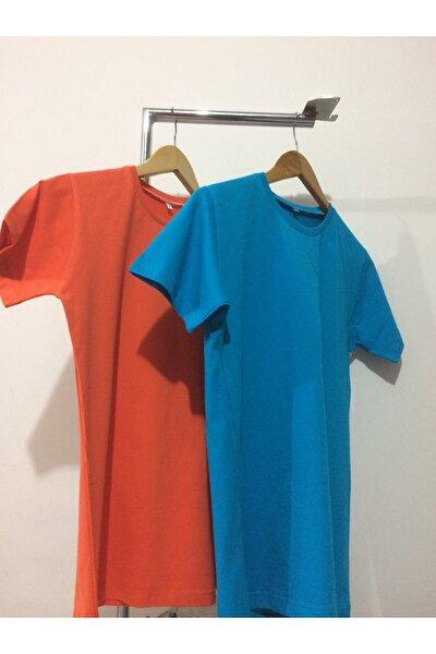 Düz Yaka Desensiz Tshirt 2li