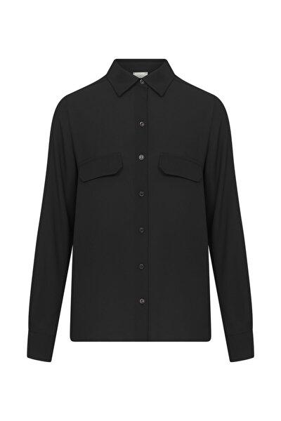 Kadın Siyah Cep Detaylı Gömlek