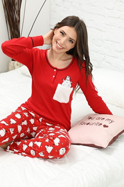 Nakışlı Düğmeli Interlok Pijama Takımı