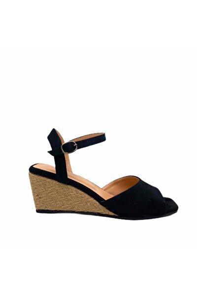 Kadın Siyah Süet Fico Model Dolgu Taban Sandalet
