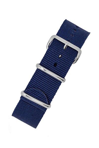 Saat Uyumlu 24mm Lacivert Renk Nato Bez Perlon Örme Kumaş Hasır Saat Kordonu