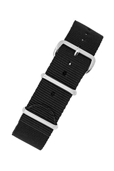 Saat Uyumlu 22mm Siyah Renk Nato Bez Perlon Örme Kumaş Hasır Saat Kordonu