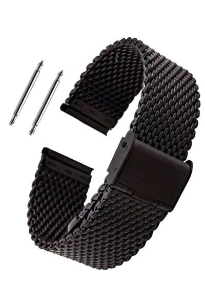 22mm Saat Uyumlu Siyah Renk Kilitli Çelik Hasır Saat Kordonu
