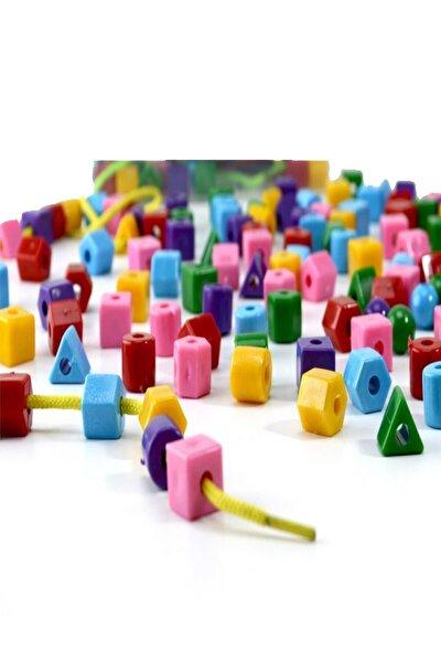 120 Parça Geometrik Şekiller Ipe Boncuk Dizme Koordinasyon Renk Algı Eğitici Oyun