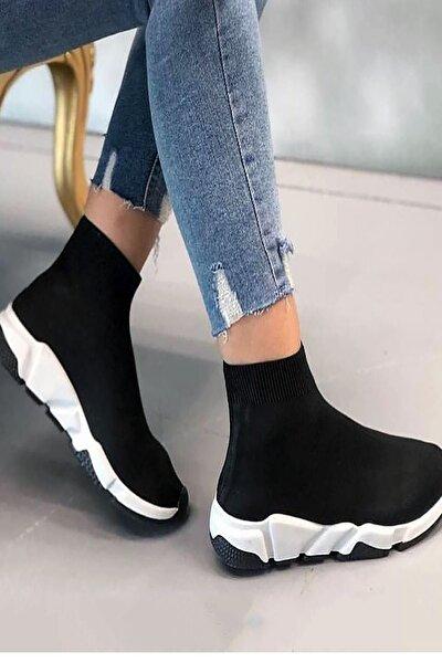 Unisex Siyah Beyaz Çoraplı Yüksek Taban  Sneakers Ayakkabı