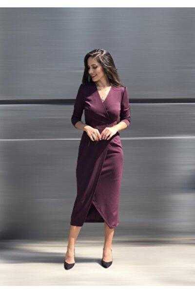 Kadın Mürdüm Kruvaze Elbise