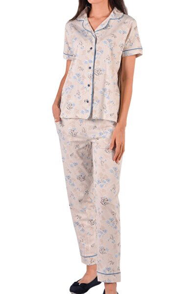 Kadın Vizon Kısa Kollu Düğmeli Pamuk Pijama Takımı