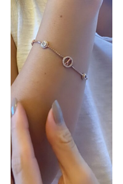 Kadın 925 Ayar Gümüş Anahtar Rose Ayarlanabilir Bilezik