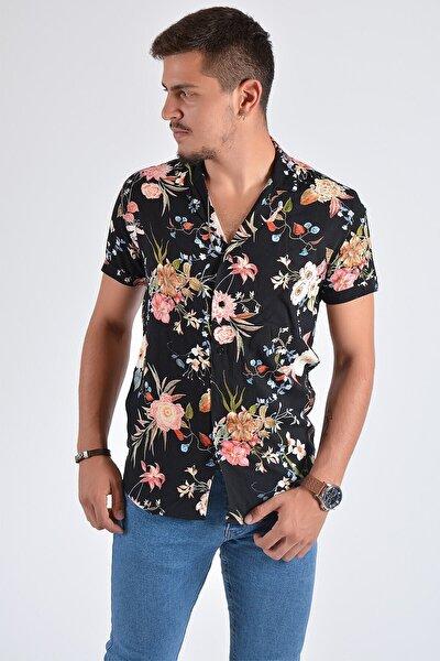 Erkek Desenli Kısa Kollu Gömlek 20y-4300511 Siyah