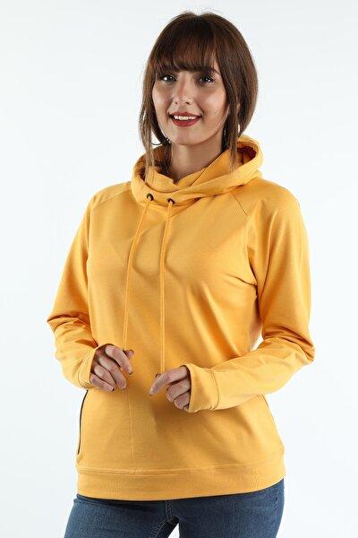 Kadın Sarı Kapüşonlu Sweatshirt