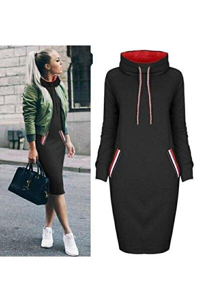 Kadın Siyah Cep Detay Geniş Balıkçı Yaka Elbise