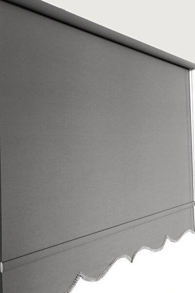 Stor Perde Mat Gri 90 x 260 cm Etek Dilimli