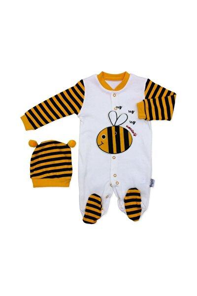 Beyaz Sarı Arılı Bebek Tulumu