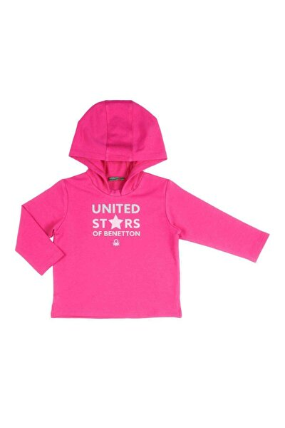 Kız Çocuk Fuşya Benetton Yazılı Sweatshirt