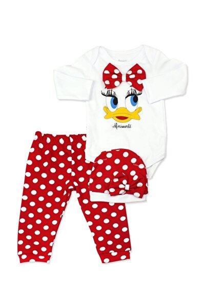 Kız Bebek Kırmızı Puanlı Ördekli Bebek Takımı K2233