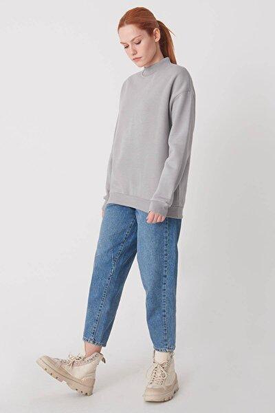 Kadın Gri Yarım Balıkçı Yaka Sweatshirt S8606 - B4 - B5 ADX-0000019754
