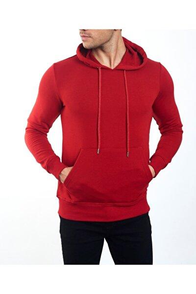 Erkek Kırmızı Kanguru Cepli Slimfit Mevsimlik Kışlık Pamuk Sweatshirt