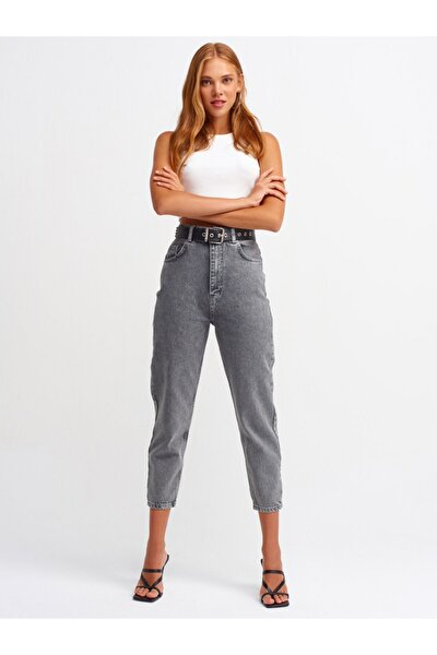 Kadın Gri Yüksel Bel  Mom Pantolon