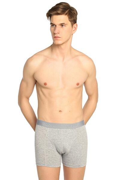 Erkek Gri 3'lü Paket likralı Boxer