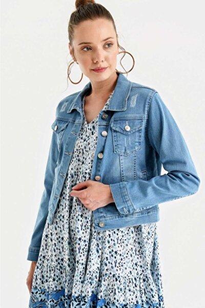 Kadın Mavi Cepli Kot Ceket 0612