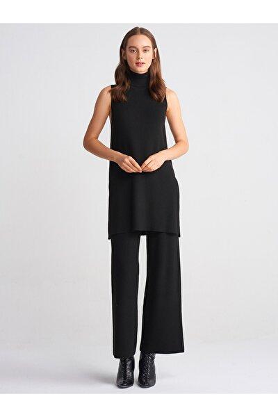 Kadın Selanik Örgü Bol Paça Pantolon 2516-Siyah