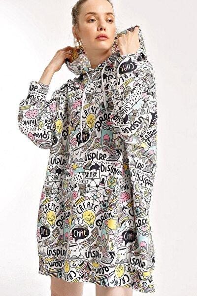 Kadın Beyaz Grafik Desenli Oversize Sweat Elbise 4125bgd19