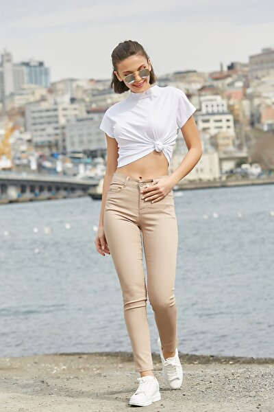 Kadın Taş Dar Paça Yüksek Bel Pantolon