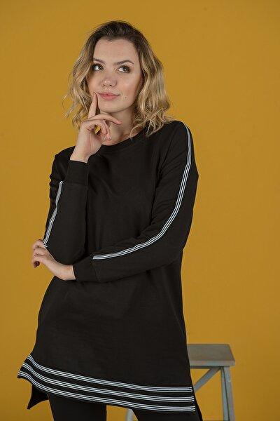 Kadın Siyah Şeritli Tunik Takım