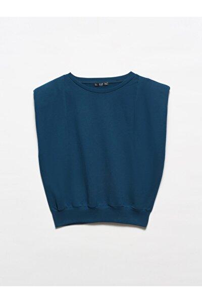 3588 Crop Vatkalı Sweatshirt-petrol