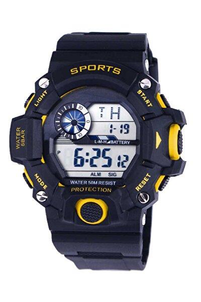 Su Geçirmez Işıklı Sporcu Asker Kol Saati Sarı