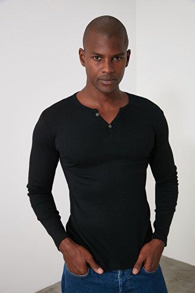 Siyah Erkek Uzun Kollu Düğmeli Yaka Slim Fit T-Shirt TMNSS20TS0002