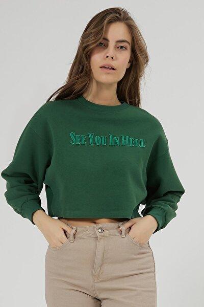 Kadın Nakışlı Içi Polarlı Crop Sweatshirt Y20w166-0074