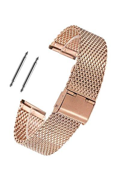 24mm Saat Uyumlu Rosegold Renk Kilitli Çelik Hasır Saat Kordonu
