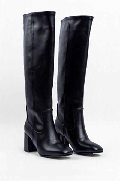 Kadın Siyah Deri Kare Topuk Çizme