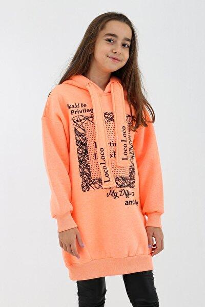 Kız Çocuk Neon Turuncu Tunik Kapüşonlu Sweatshirt