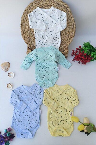 Erkek Bebek 4 Adet Yeni Doğan Kendinden Eldivenli Çıtçıtlı Zıbın