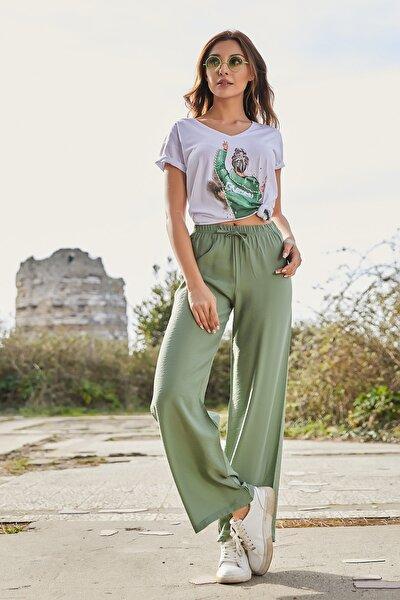 Kadın Çağla Yeşili Beli Lastikli Bol Paça Pantolon