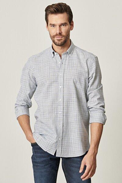 Erkek Lacivert-Haki Tailored Slim Fit Dar Kesim Düğmeli Yaka Koton Kareli Gömlek