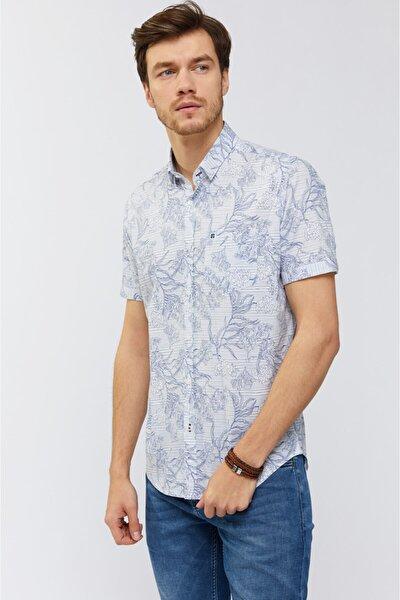 Erkek Lacivert Baskılı Alttan Britli Yaka Slim Fit Kısa Kol Gömlek A91Y2039